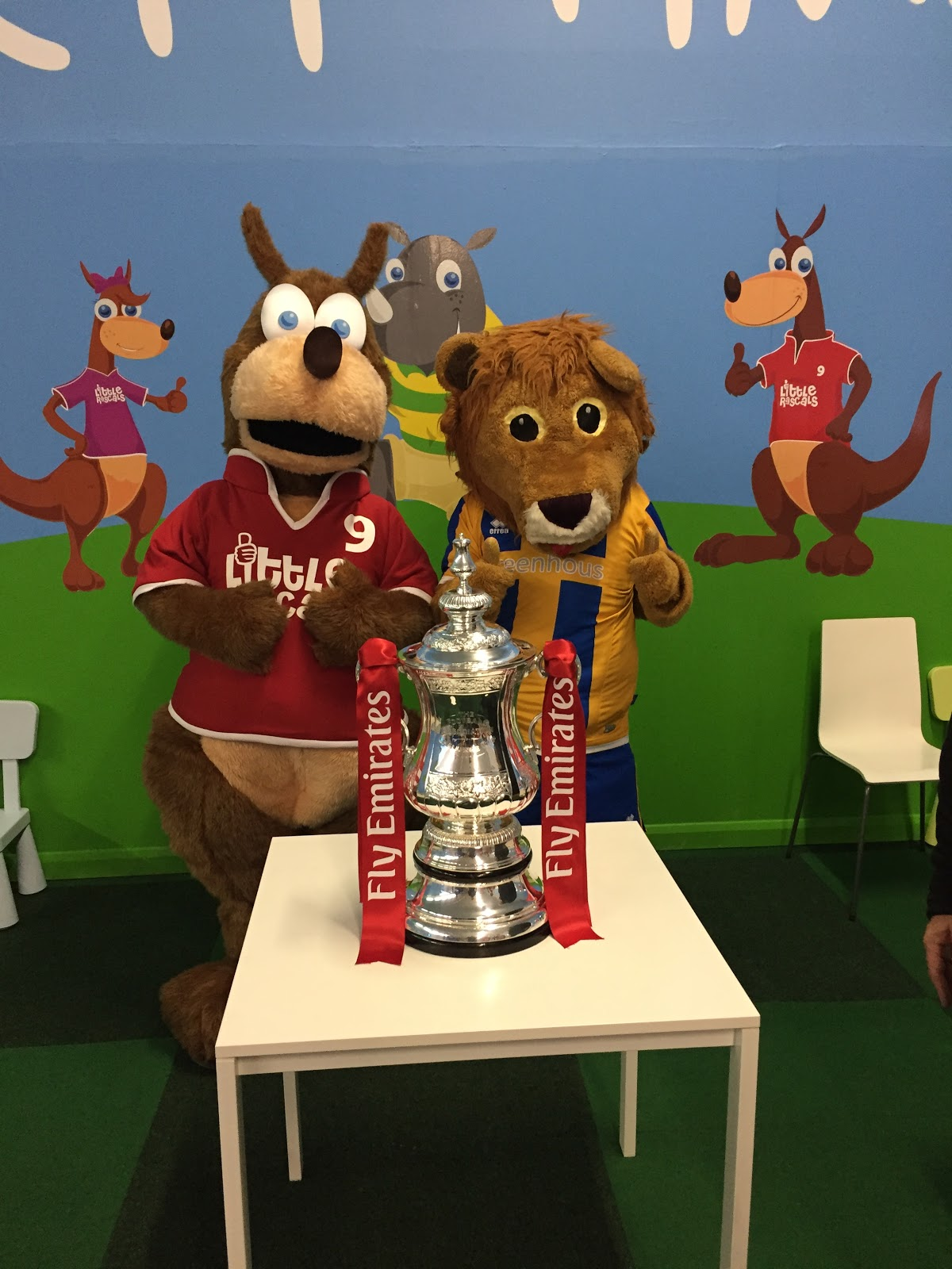 Kicca the Kangaroo and Lenny the Lion with the FA Cup